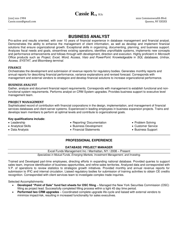 combination business analyst resume page