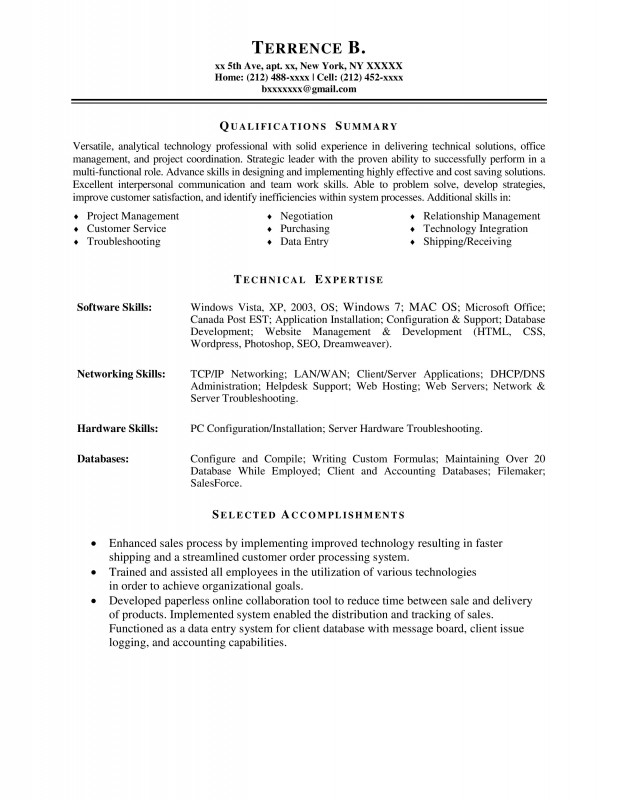 Technical coordinator resume